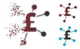 Moving фунт полутонового изображения пиксела соединяет значок иллюстрация штока