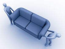 Moving. 3d people carrying a sofa stock illustration