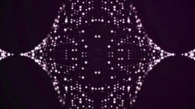 Двигая предпосылка анимации частицы Пропуская светлые точки на пурпурной предпосылке Концепция космоса иллюстрация вектора