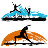 Moving. People silhouette vector illustration Stock Images