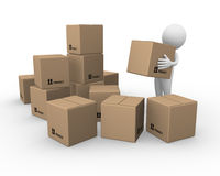 Moving. Computer generated image of a man moving boxes Royalty Free Stock Photography