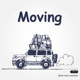 Moving. Hand drawn illustration with laden car isolated on white background Stock Photography