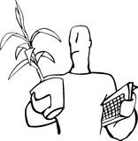 Moving. Drawing of man carrying a plant and keyboard Royalty Free Stock Image