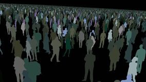 Moving above colorful Hundreds of multiracial people crowd animation crowd to into the crowd with black background