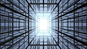 Moving through abstract construction structure stock video footage
