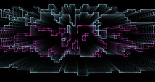 Moving abstract 3D geometric rectangular lines stock footage
