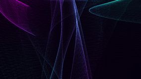 Moving abstraction consisting of several connected lines in blue tones. Black background royalty free illustration
