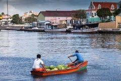 Moving around the Floating Market  Punda. Floating Market Punda- Views around Curacao Caribbean island Stock Photography