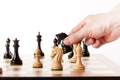Moving black chess knight on a chessboard Stock Images