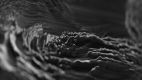 Moving black gray water texture, resonance in ferromagnetic liquid. Dynamic motion and electromagnetic waves. Abstract