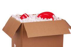 Moving Box With Plates Royalty Free Stock Photo