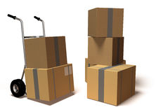 Moving boxes. 3d generated picture Royalty Free Stock Image