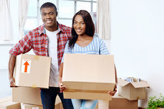 Moving boxes couple Royalty Free Stock Images