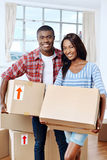 Moving boxes couple stock images