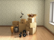 moving boxes in empty room, Stock Images