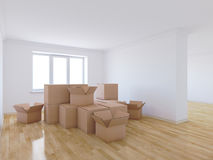 Moving boxes in empty room Royalty Free Stock Photography