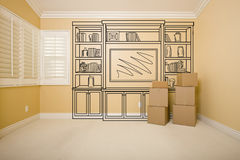 Moving Boxes in Empty Room with Shelf Design Drawing on Wall Stock Photography