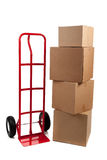 Moving boxes with fragile stickers royalty free stock image