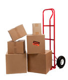 Moving boxes with fragile stickers stock photography