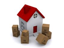 Moving boxes in front of house stock illustration