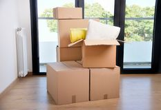 Moving boxes at home. Group of moving boxes at home royalty free stock image