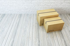 Moving boxes at a new home. 3d rendering Royalty Free Stock Image