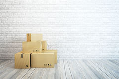 Moving boxes at a new home. 3d rendering Royalty Free Stock Images