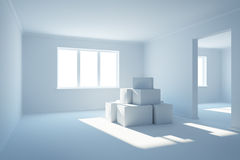Moving boxes at a new home royalty free illustration