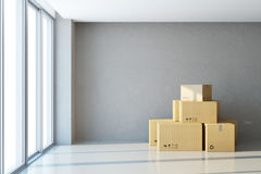 Moving boxes at a new office. 3d rendering stock illustration
