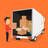 Moving with boxes. Things in box. Transport company Royalty Free Stock Photography