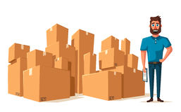 Moving with boxes. Transport company. Cartoon vector illustration Royalty Free Stock Photo
