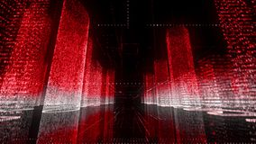 Moving through the bright red and white colored model of abstract digital city contained of random numbers and symbols