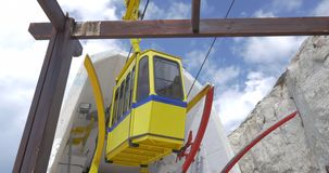 Moving cable car in Rosh Hanikra stock video footage