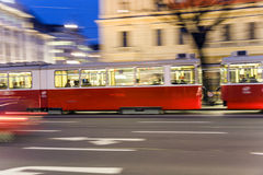 Moving Cable Car in Vienna by Night Royalty Free Stock Photos