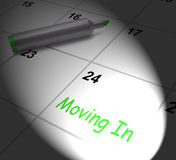 Moving In Calendar Displays New House Or Place Of Residence Stock Photos