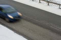Moving car on black ice Fotografia Stock