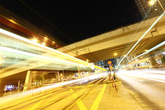 Moving car with blur light through city Royalty Free Stock Photos