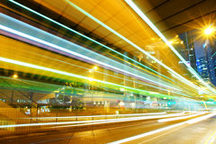 Moving car with blur light through city Royalty Free Stock Images