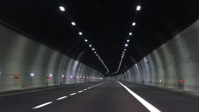 Moving on car through tunnel. 4k stock video