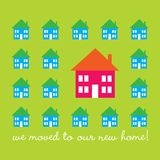 Moving card. Design for a moving announcement with bright colored houses Royalty Free Stock Images