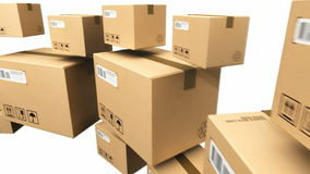 Moving cardboard boxes stock footage