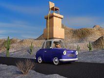 Moving Cargo. A cartoon family driving through the desert in a cartoon car carrying a load of tall stack of boxes and a chair that is strapped to the car Stock Photos