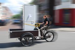 Moving By Cargo Bike stock images