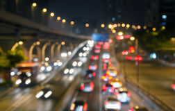 Moving cars with fast blurred trail of headlights Stock Photography