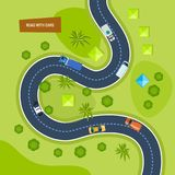 Moving cars on road, top view. Urban transport, landscape, traffic. Royalty Free Stock Images