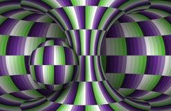 Moving checkered hyperboloid и сфера Иллюстрация обмана зрения вектора Стоковая Фотография
