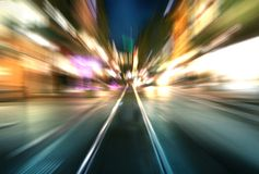 Moving city. The night picture of Geneva with moving motion light Royalty Free Stock Image