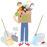 Moving and cleaning up royalty free illustration