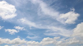 Moving cloud on blue sky stock footage