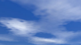 Moving clouds - 3D render. White clouds moving in deep blue sky royalty free illustration